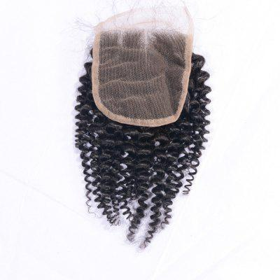 Indian Remy Human Hair Afro Kinky Curly Lace Closure with Baby Hair 4x4 Inches Natural Black Bleached Knots Closures