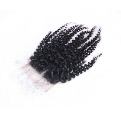 Virgin Brazilian Human Hair Kinky Curly Closure 4x4 Natural Black Middle Part Lace Closures with Baby Hair 8-20 Inches
