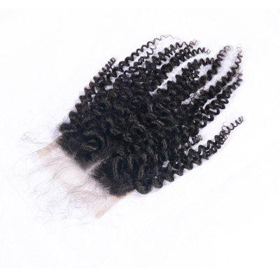 100% Human Hair Middle Part Afro Kinky Curly Brazilian Lace Closure with Baby Hair 4x4 Natural Black Bleached Knots Closures