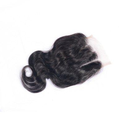 Three Part Human Hair Swiss Lace Virgin Brazilian Body Wave Closure Bleached Knots Baby Hair Natural Color 4x4 Closures