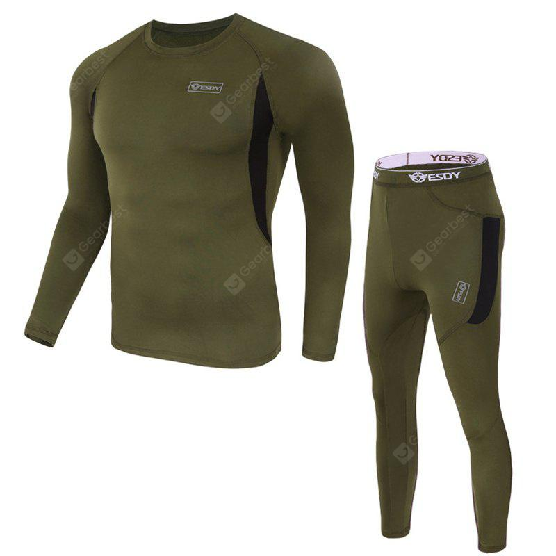 Autumn/Winter Long Sleeve Outdoor Leisure Sports Breathable Thermal Underwear Jacket Trousers Fitness Suit Two Sets