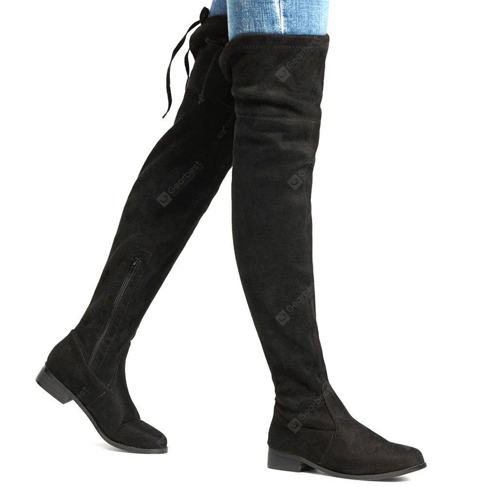 Круглый Toe Lace Up Thigh High Boots