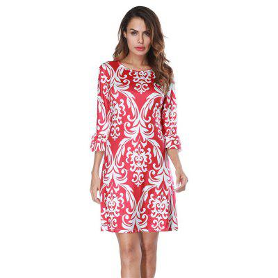 Round Half Sleeve Printed Irregular Dress