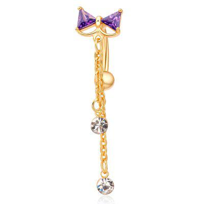 KUNIU Exquisite Fashion Bow Persian Style Zircon Navel Ring P0002