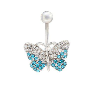 KUNIU Graceful Butterfly Dance Zircon Navel Ring P0010