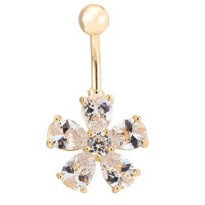 KUNIU Concise Petal Zircon CZ Navel Ring P0011