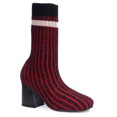 Knit Square Head High Thick High Heels Boots