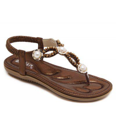 Women'S Sandals with String Pearls Flats