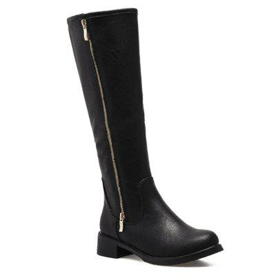Lady'S Middle Martin Boot with Thick Heel and Zipper
