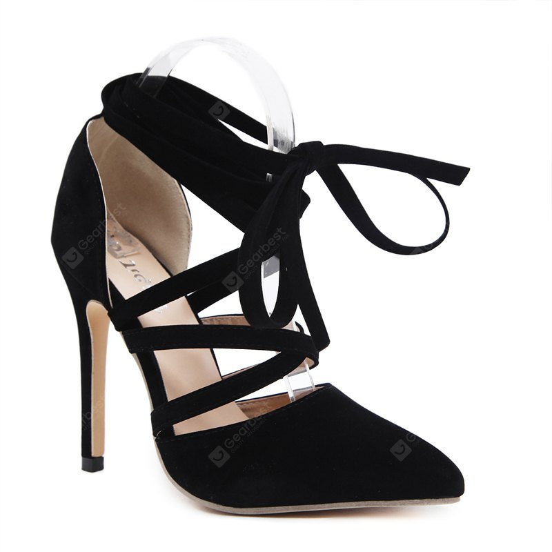 The Lady Has A Hollow Strap with High Heels