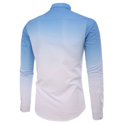 Men'S Casual Long-Sleeved Shirt Men'S Casual Gradient Color casual