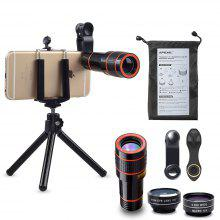 APEXEL APL - HS12XDG3ZJ Cell Phone Camera Lens Kit 4 in 1 12X Telephoto Lens with Tripod Wide Angle Macro Fisheye
