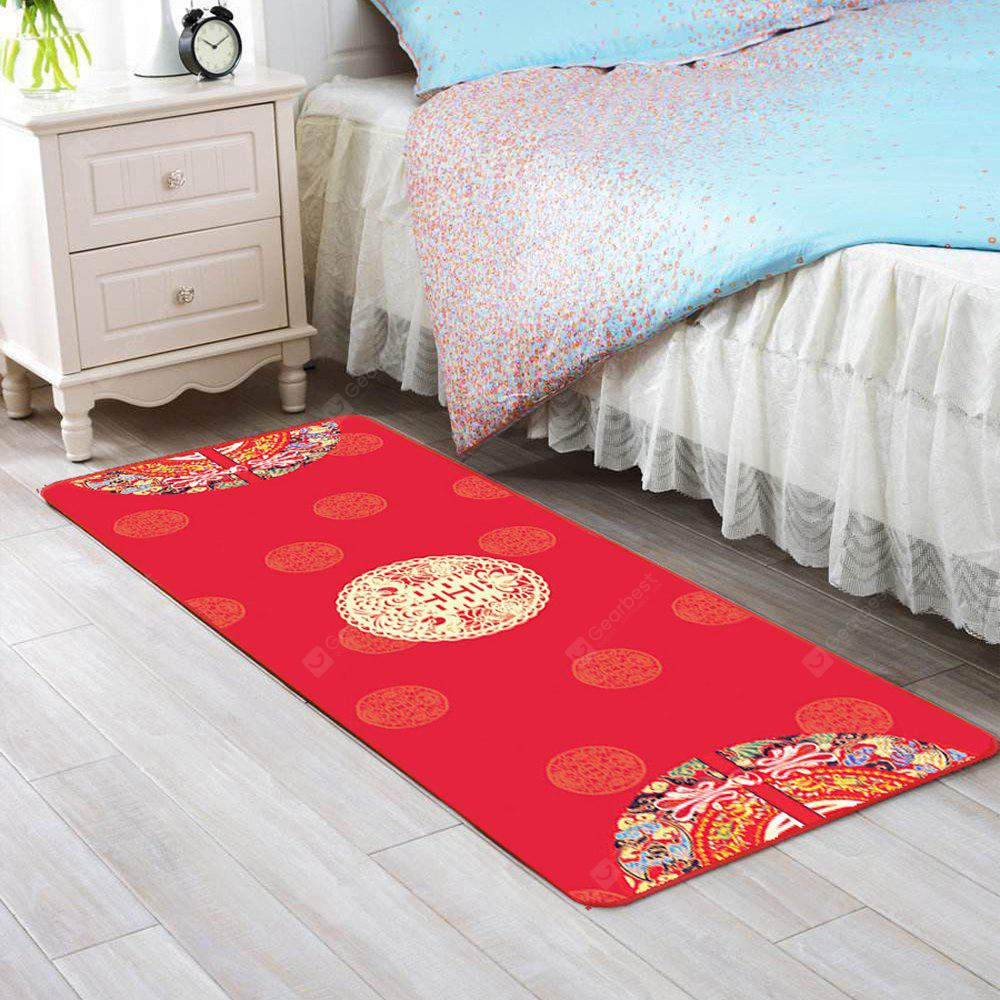 RED 40X60CM Bedroom Floor Mat Wedding Style Red Soft Home Decorative Doormat
