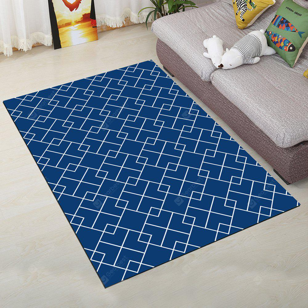 BLUE 40X60CM Living Room Floor Rug Modern Geometric Pattern Soft Antiskid Mat