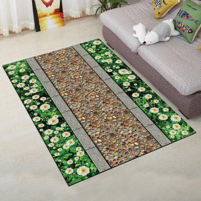 Bedside Floor Rug Vintage Fresh Flower Design Supple Rectangle Mat