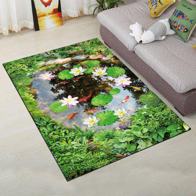 Home Decorative Rug Rectangle Shaped Fresh Pond Design Soft Door Mat