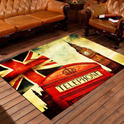 Door Mat Vintage England Style Big Ben Red Telephone Booth Floor Mat