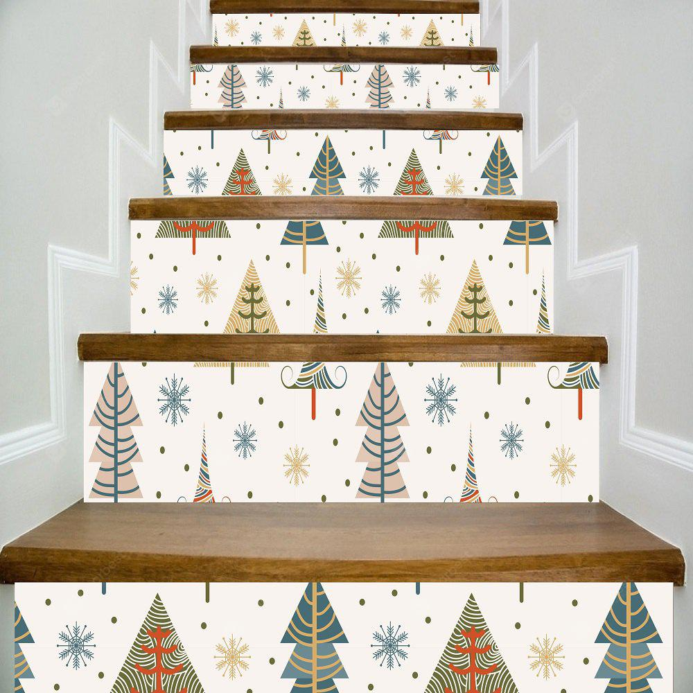 Colorful Christmas Tree PVC Stairs Sticker Xmas Full Color Trees Snow Flake Stairway Sticker For Kids Room
