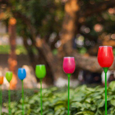 4PCS Outdoor Solar Powered Tulips Lawn LED Bulbs Light For Garden Decoration Yard Pathway Stake Lamp