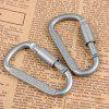 Aluminum Alloy D Shape Carabiner Screw Lock Bottle Hook Buckle Hanging Padlock Key Chain Camping Hiking 5PCS - SILVER