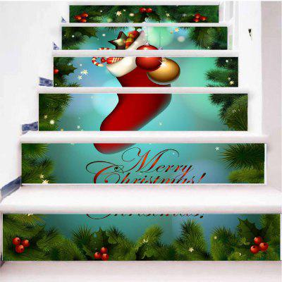 Merry Christmas Big Red Christmas Stockings Stairs Sticker big red t42001c