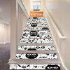 DSU Cartoon Kitten Style Style Escalier Autocollant Mur Décor LTT016 - BLANC-NOIR