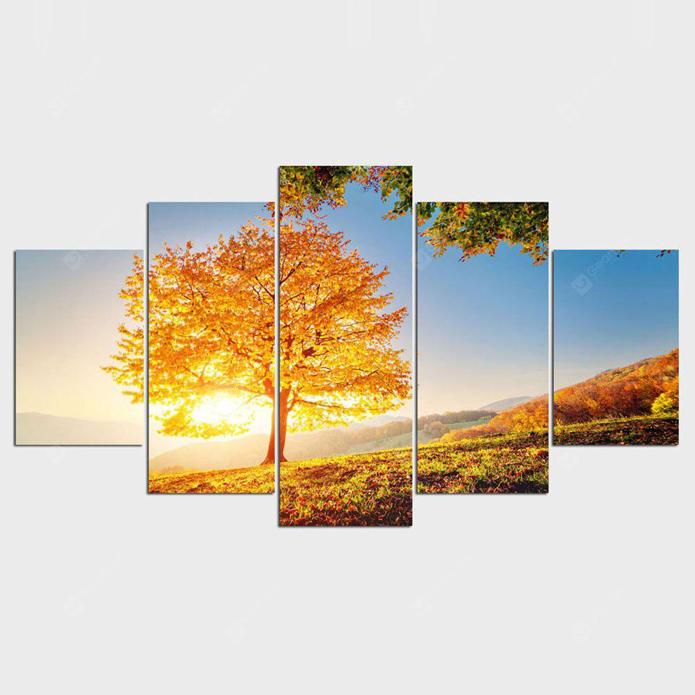 Gold Montreal Tree Scenery Painting On Canvas Home Decor 5 Pcs