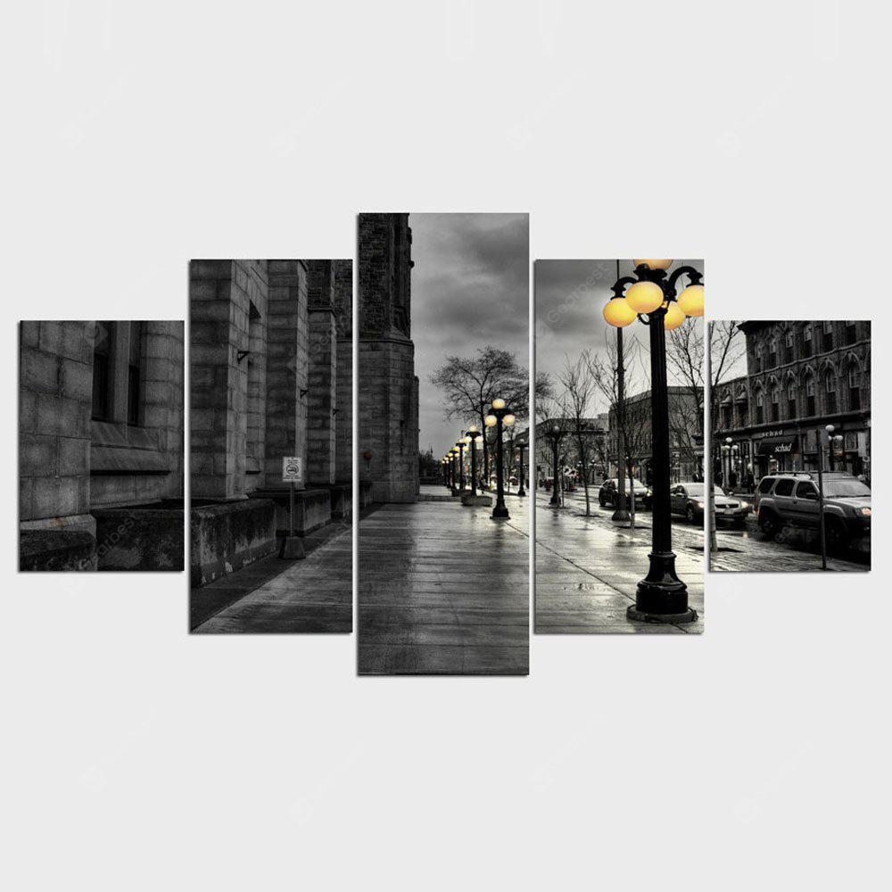 YSDAFEN Modern Style Abstract Painting Canvas Retro City Street Landscape Pictures Wall Art 5 Piece