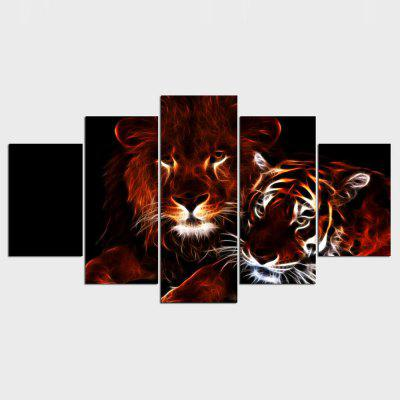 YSDAFEN Wall art glowing lion and tiger for room decor print picture 5 pieces