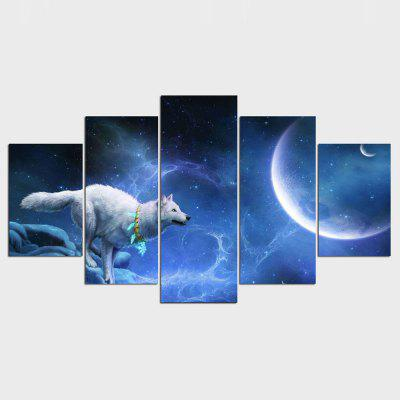 YSDAFEN White Wolf Moon 5 Piece Group Wall Painting Home Decor Picture Paint