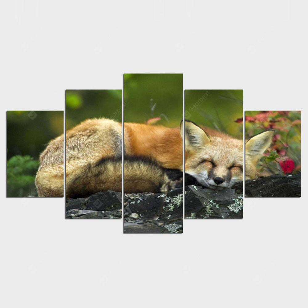 YSDAFEN 5 Panel Sleeping Red Fox Pictures Prints Animal The Picture Home Decoration