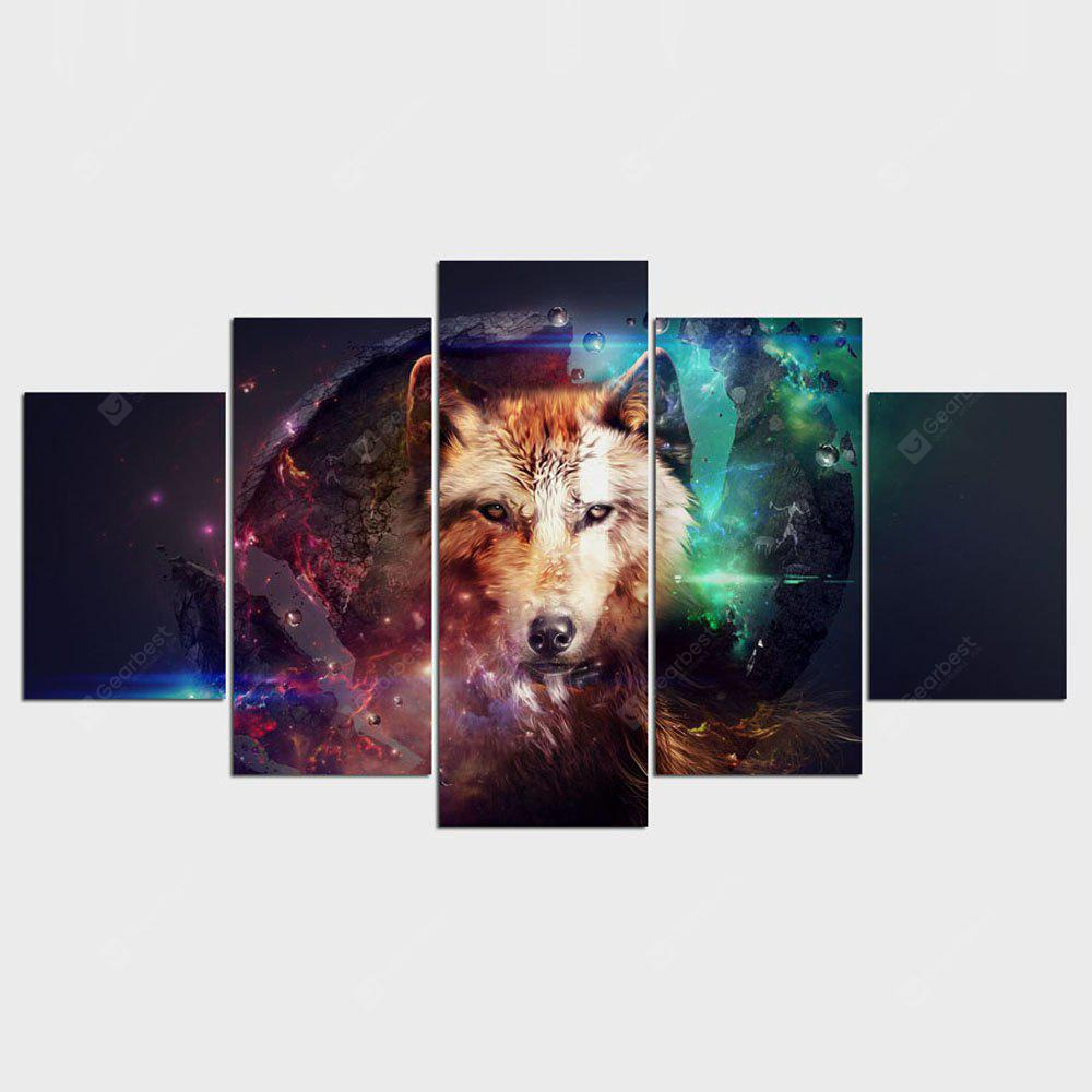 YSDAFEN Canvas Painting Art Home Decoration For Living Room Wolf Collage 5 Pcs