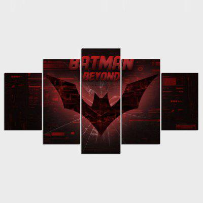 YSDAFEN Printed Batman Beyond Logo Painting Canvas Room Decoration 5 Panels