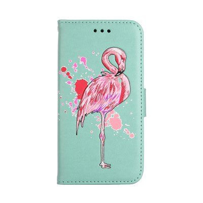Painted Pink Flamingo PU Leather Case Cover for iPhone 6 Plus / 6S Plus