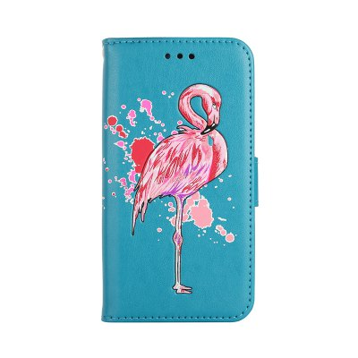 Painted Pink Flamingo PU Leather Case Cover for iPhone 7 Plus / 8 Plus