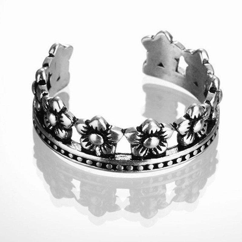 New Princess Crown Sterling Silver Open Ring SILVER