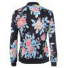 Women's Bomber Jacket Floral Patchwork Long Sleeve Pocket Slim Short Jacket - BLACK