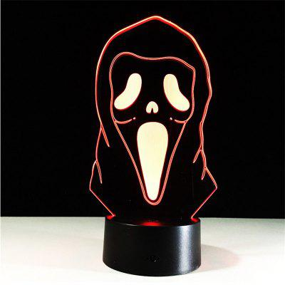 New 3D Lamp Mask LED Effect Light 7 Colors Micro USB or Aa Batteries Desk Demon for Halloween