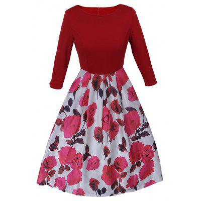 Hot Sale Europe & America Floral Print  Autumn New Style Women O-neck 3/4 Sleeve Party Clubwear Formal Dress