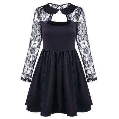 Women's Sexy Hollow Doll Collar Lace Sleeve Splicing Dress