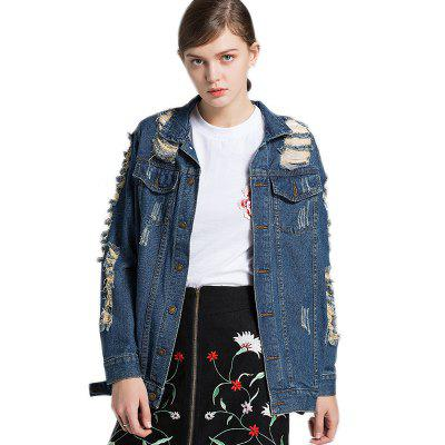 Women's Fashion Wild Single Breasted Denim Jacket