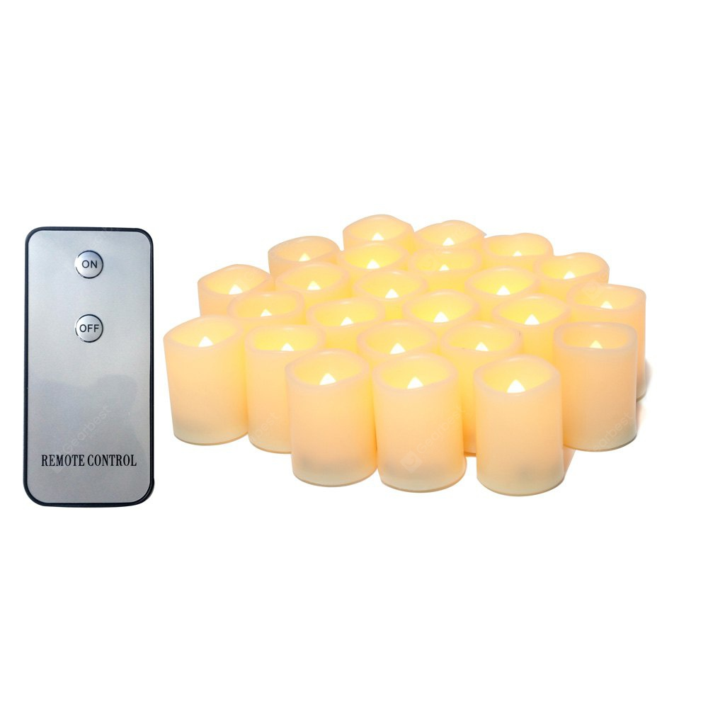 Ensemble de 24pcs Bougies Votives Réalistes sans Flamme Bright Battery Operated