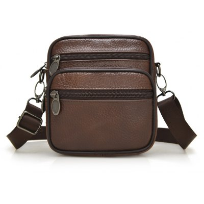 Genuine Leather Multiple Zipper Shoulder Crossbody Waist Bag
