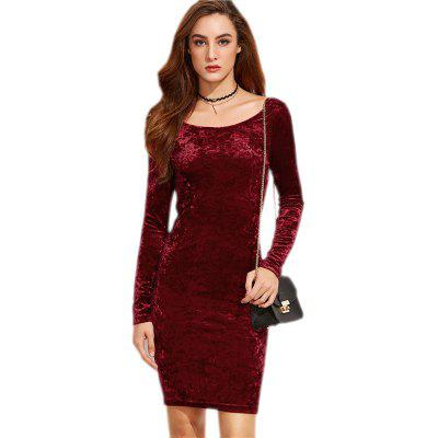 Quick Sale of Foreign Trade Hot Style Women'S Full-Color Round Neck Velvet Long Sleeve Trim Dress of The Buttock Dress