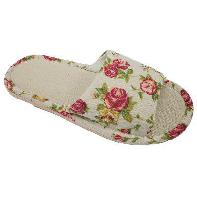 Women's Printing Linen House Slippers