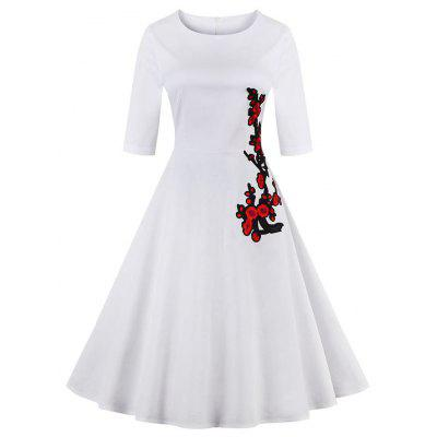 Hepburn Style Autumn and Winter Women'S New Vintage Embroidery Dresses