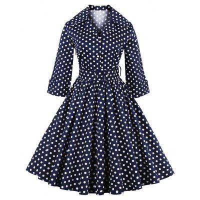 Elegant Vintage Summer Polka Dot Belted Tunic Pinup Wear To Work Office Casual Party A Line Skater Dress