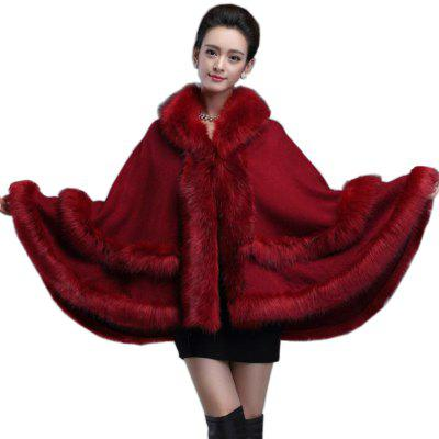 Poncho Knitwear Women Oversized Sweater Faux Fur Coat  Hooded