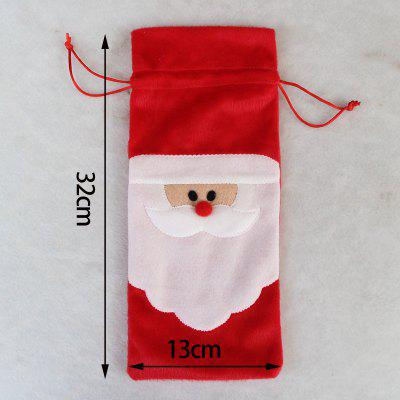 Santa Claus Christmas Drawstring Red Wine Bottle Cover Bags Dinner Party Table Decor Xmas Gift novelty beard santa claus beanies men s women s funny christmas crocheted hats xmas party mask handmade winter warm gorros gifts