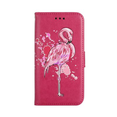 Flamingo Pattern PU Leather Wallet Case for iPhone X
